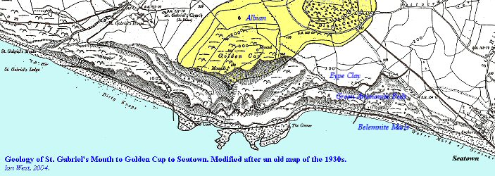 Old geological map of Golden Cap, Dorset