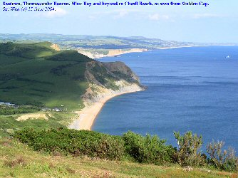 View of Seatown, Thorncombe Beacon and beyond from Golden Cap, West Dorset