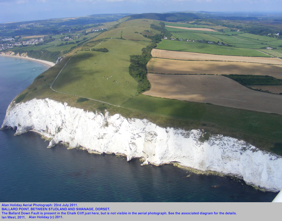 An aerial view of the cliffs at Ballard Point and the Ballard Down Fault, near Swanage, Dorset, July 2011
