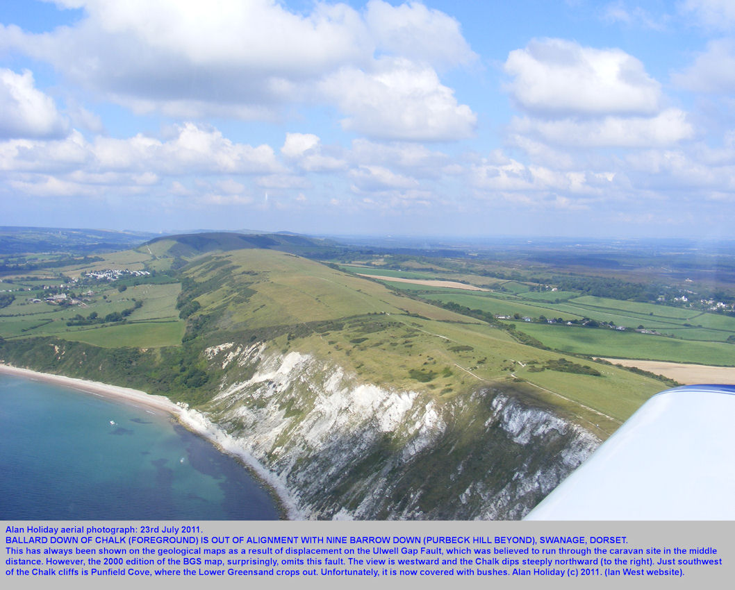 An aerial view westward of Ballard Down of Chalk, showing the non-alignment with Nine Barrow Down, Swanage, Dorset