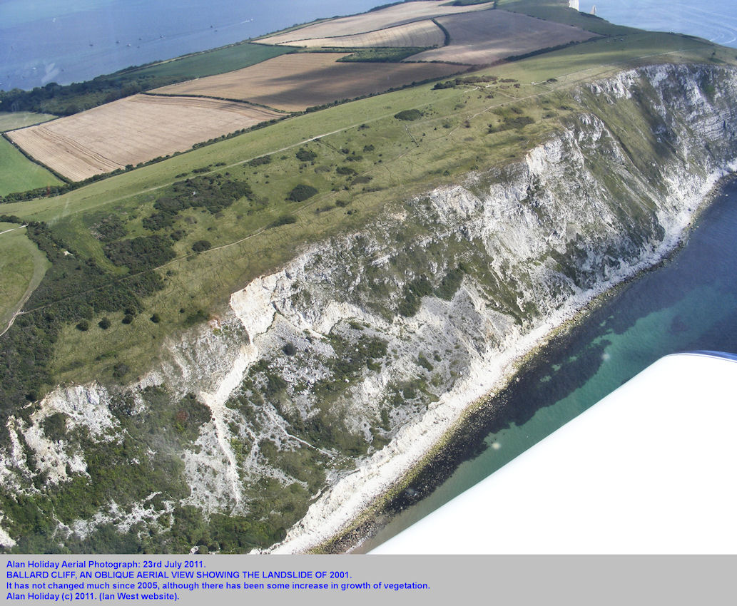 The landslide of 2001 in Ballard Cliff seen in an oblique aerial photograph of July 2011, near Swanage, Dorset