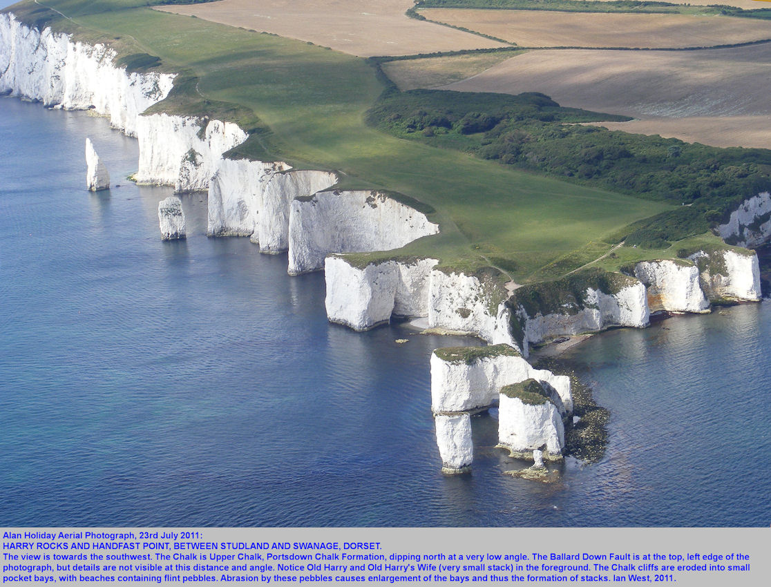 An aerial view of Harry Rocks, Dorset, August 2011, by Alan Holiday