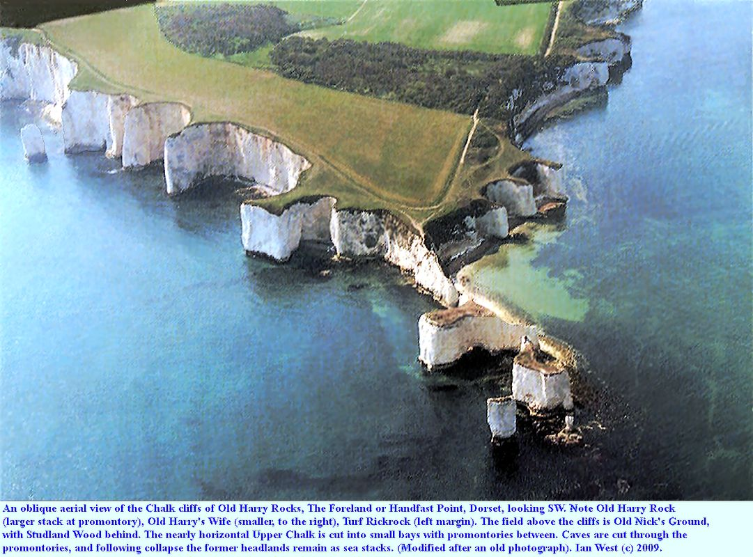An old oblique aerial view of the Chalk cliffs of the Foreland and Harry Rocks, Dorset, modified, source and date unknown