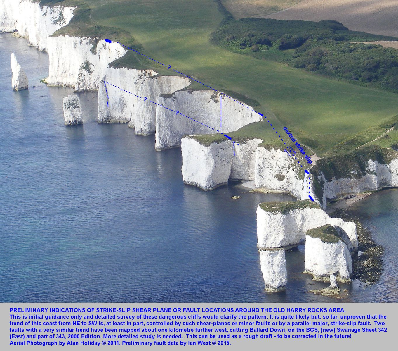 An aerial view showing, some preliminary indications of the locations of strike-slip faults in the vicinity of Old Harry Rocks, Studland, Dorset