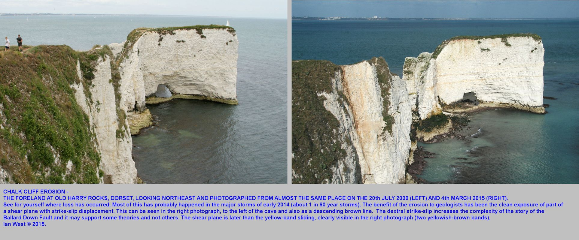 The comparative state of The Foreland at Old Harry Rocks, Studland, Dorset from 2009 to 2015, by Ian West