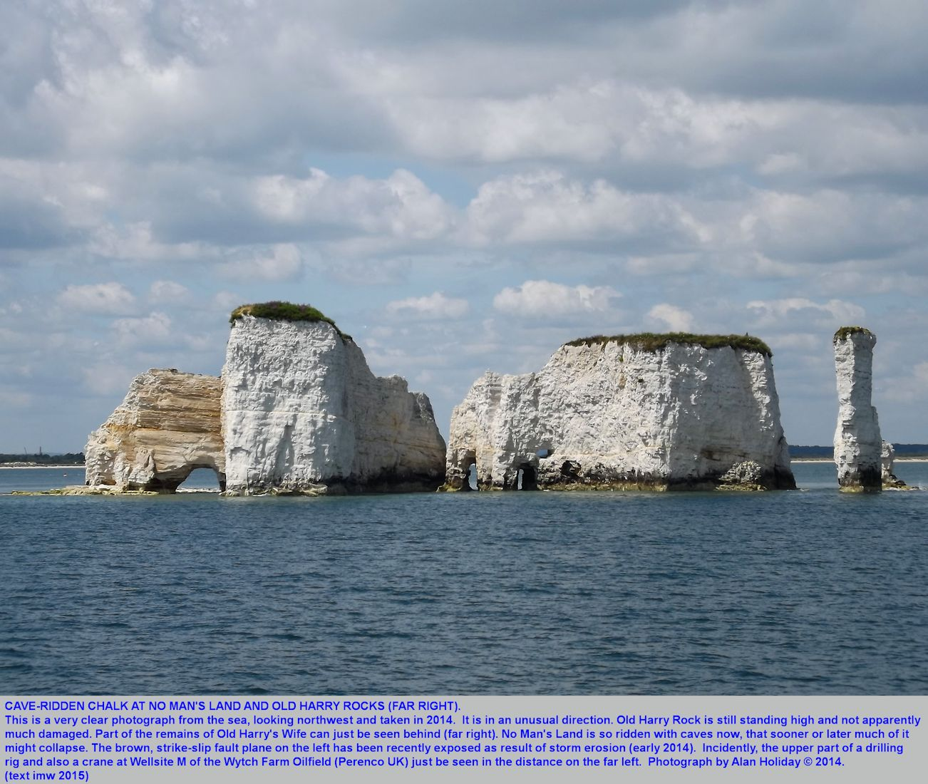 Old Harry Rocks and No Man's Land, Studland, Dorset, photographed from the sea by Alan Holiday, 2014, and showing extensive erosion and development of caves