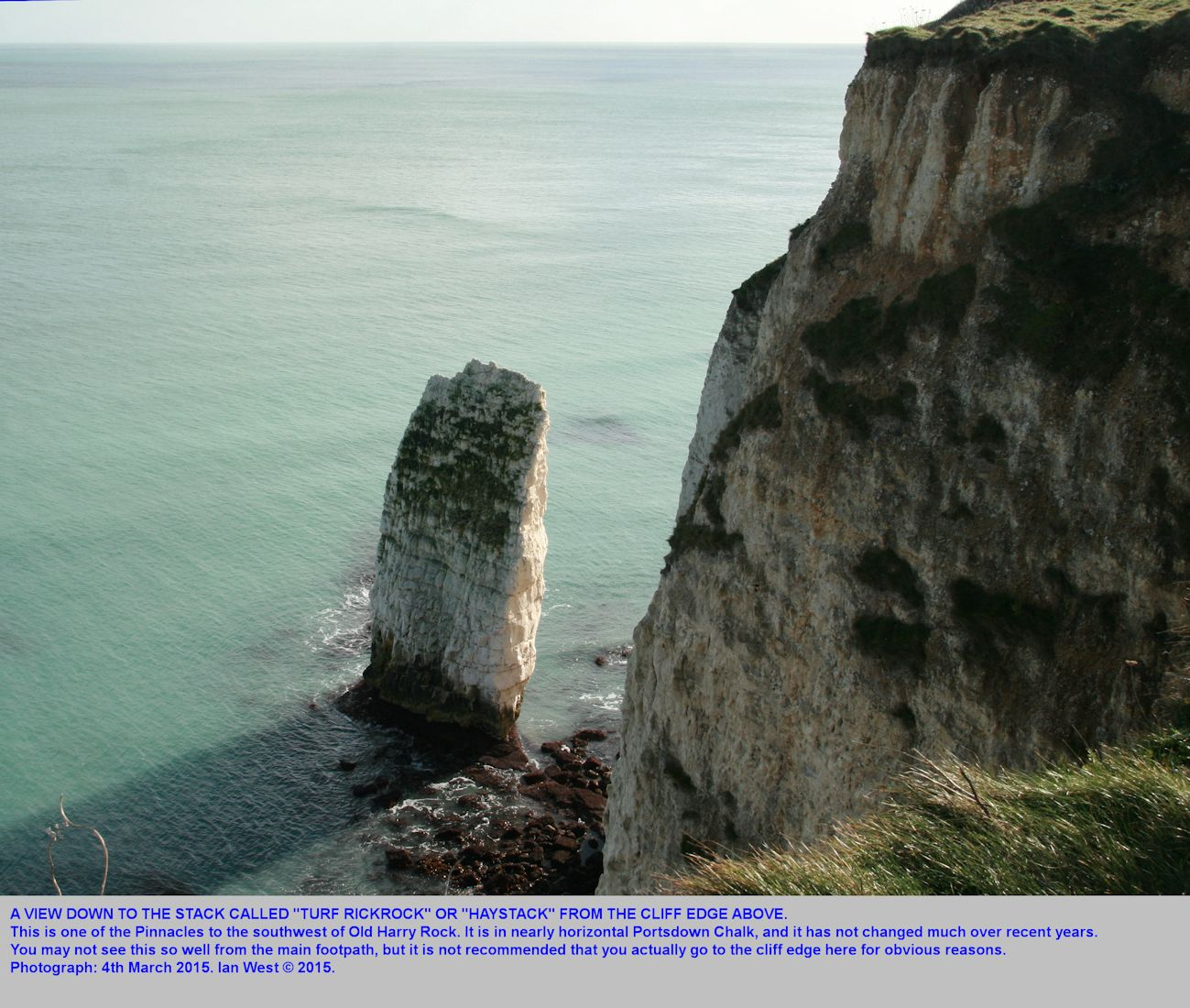 The sea stack, Turf Rickrock or Haystack,  of Portsdown Chalk Formation, one of the Pinnacles, southwest of Old Harry Rocks, Studland, Dorset, 4th March 2015, by Ian West