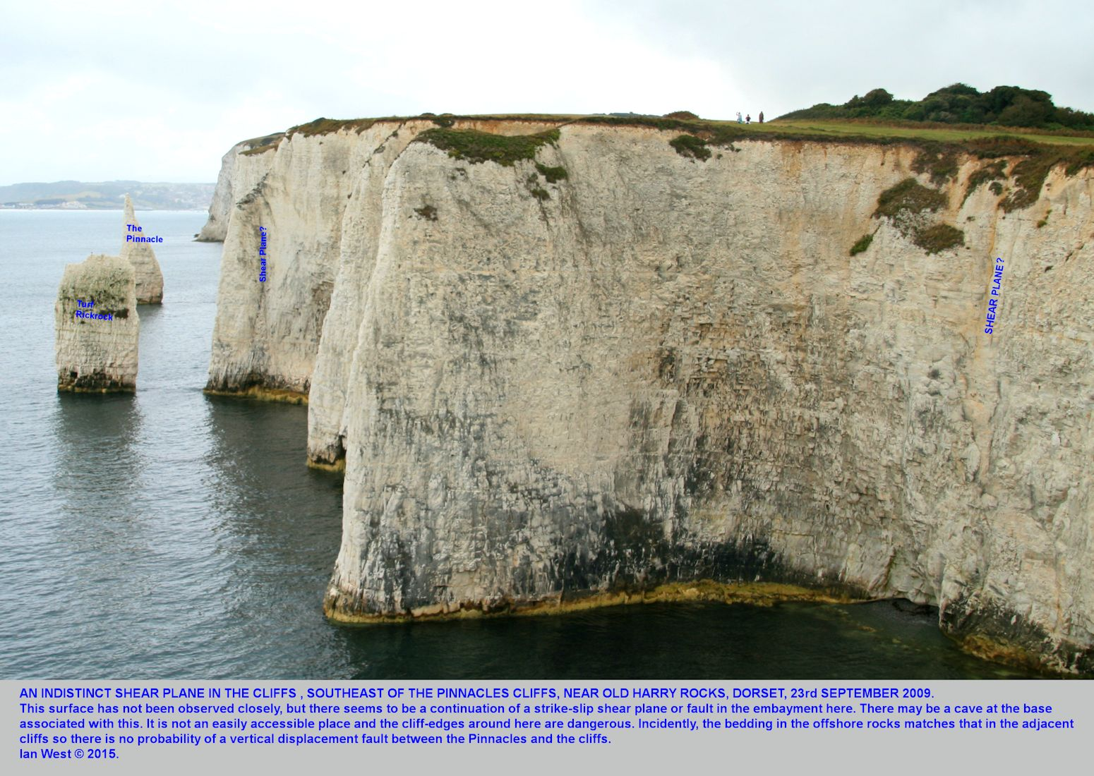 A strike-slip, shear plane in the cliffs near the Pinnacles, Old Harry Rocks, Dorset, September 2009