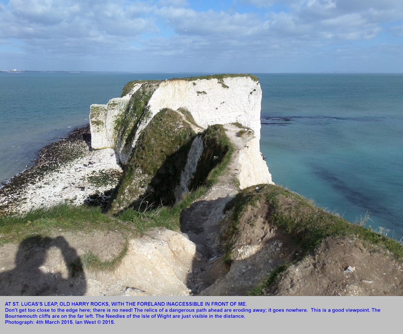 Viewpoint at the eroding, St. Lucas Leap, Old Harry Rocks, Dorset, 4th March 2015, by Ian West