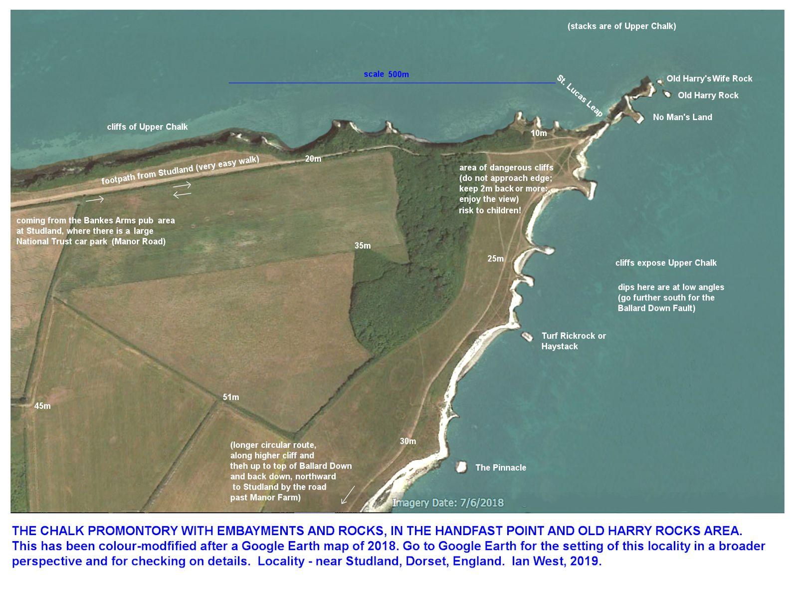 A simple, labelled map of the coastal, Chalk promontory at and near to Old Harry Rocks, Studland, Dorset, Southern England, 10th April 2019, by Ian West