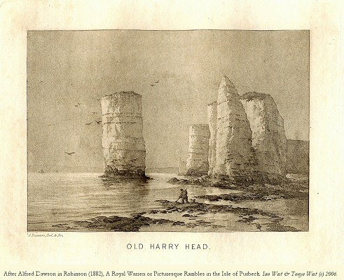 Old Harry Rocks, Dorset, as shown in an illustration by Dawson in Robinson (1898), with both Old Harry Rock and Old Harry's Wife