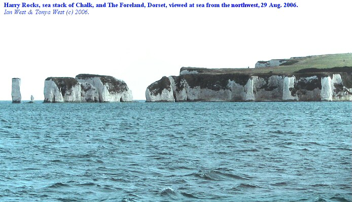 Old Harry Rocks and The Foreland, Dorset, viewed from the sea to the northwest, 29 August 2006