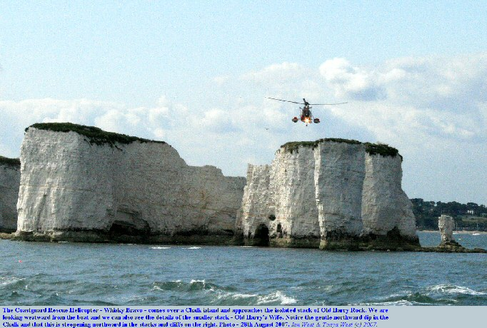 The Coastguard Rescue Helicopter, Whisky Bravo, approaches Old Harry Rock, Dorset, August 2007