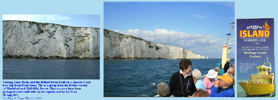 A Jurassic Coast cruise to see Harry Rocks and the Ballard Down Fault, Dorset, England