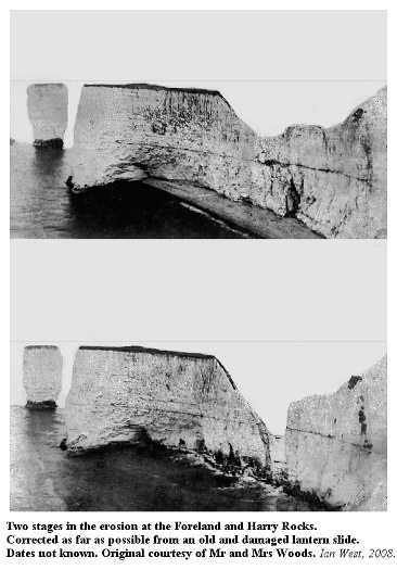 An old damaged lantern slide image from the Southampton University collections, corrected as far as possible, and showing coastal erosion at Harry Rocks, dates unknown