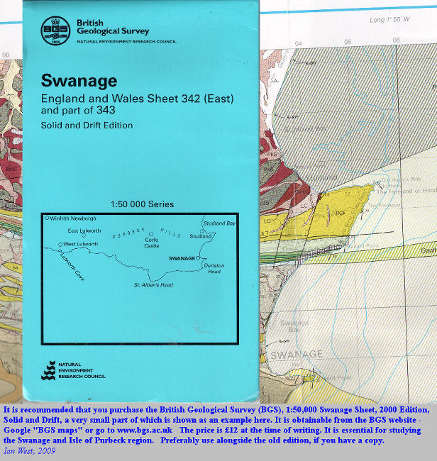 The 2000 edition of the 1:50,000 British Geological Survey Map, Swanage, Sheet 343 and part of 342, Solid and Drift - including the Isle of Purbeck and Lulworth Cove
