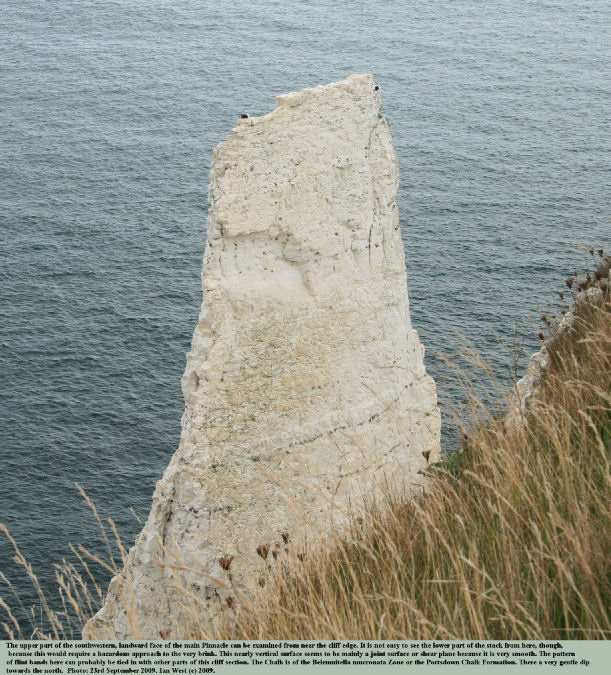 The southwestern side of the upper part of The Pinnacle, near Harry Rocks, Dorset, photo 23rd September 2009