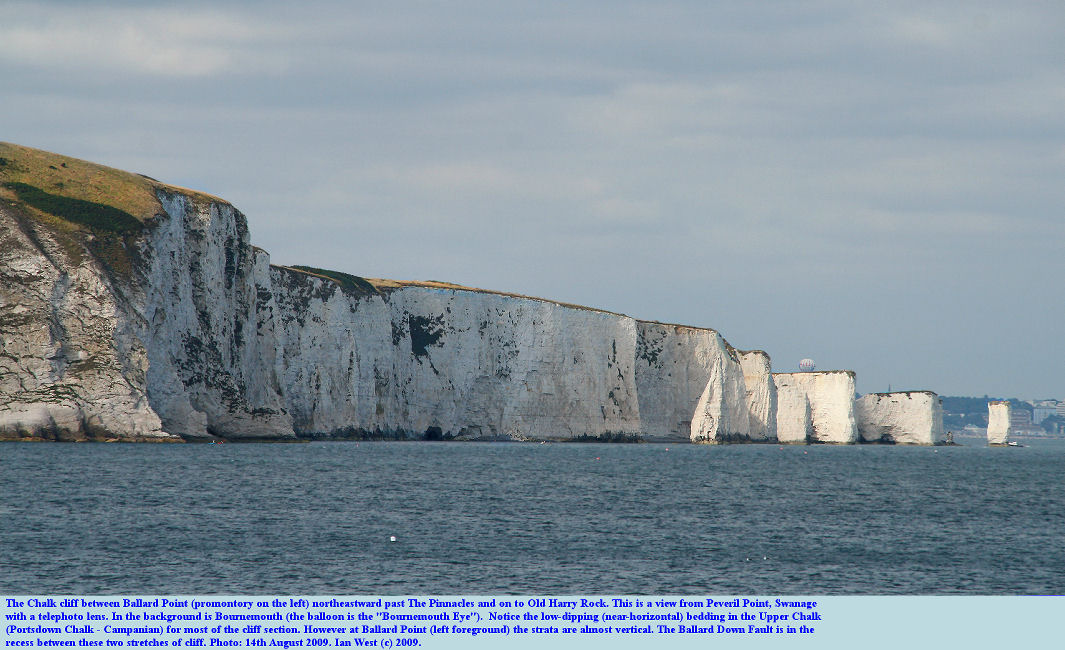 A view of the Chalk cliffs between Ballard Point and Harry Rocks, Dorset, as seen by telephoto lens from Peveril Point, Swanage, 14th August 2009