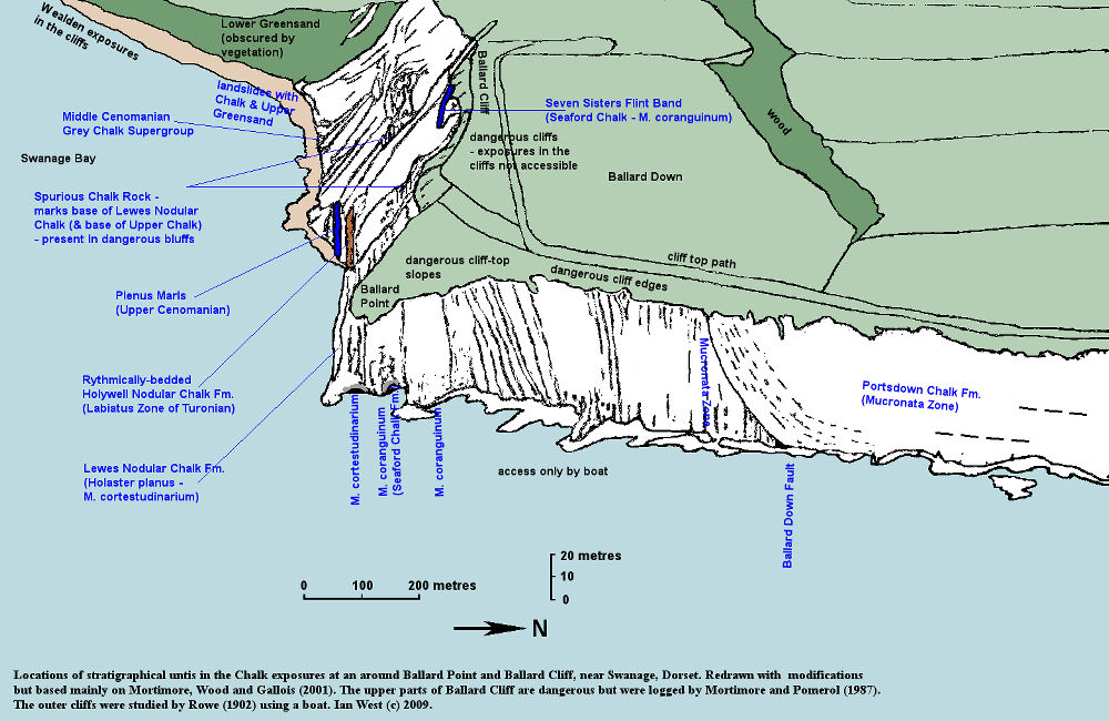 An oblique arial view diagram to show the exposures of particular statigraphic units at Ballard Point, Ballard Cliff and adjacent area, near Swanage, based, with modifications, on Mortimore et al. (2001)