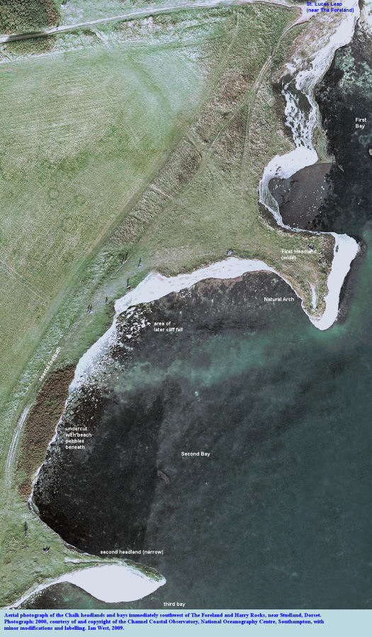 Aerial photograph of the Chalk headlands and bays southwest of The Foreland or No Mans Land and Harry Rocks, Dorset, 2000, courtesy of the Channel Coastal Observatory