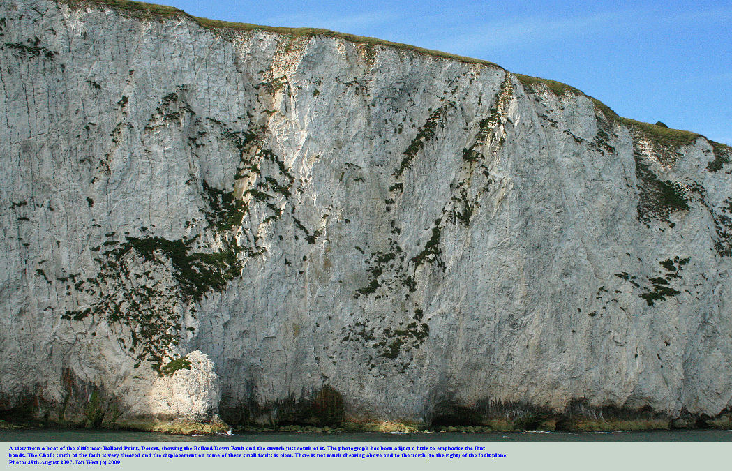 The cliff of Chalk near Ballard Point, Dorset, including the Ballard Down Fault and the Chalk immediately to the south of it, photo: 28th August 2007