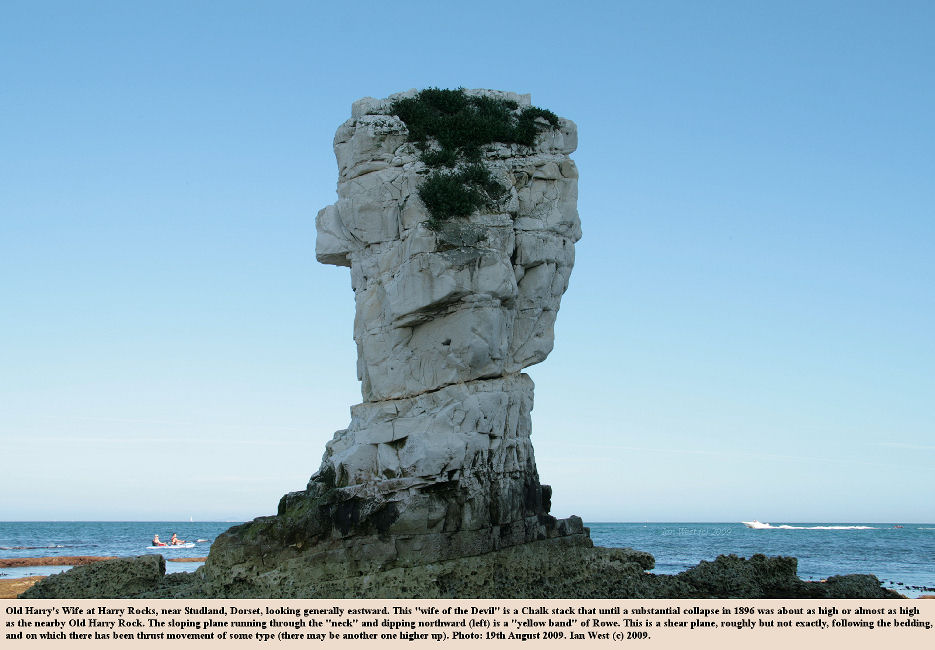Old Harry's Wife, a chalk stack at Harry Rocks, Dorset, 19th August 2009