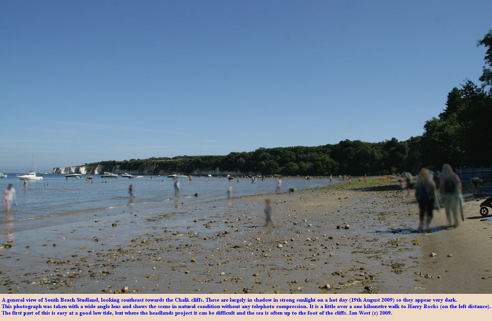 A general view of Studland South Beach, Dorset, with the Chalk Cliffs extending to Harry Rocks, 19th August 2009