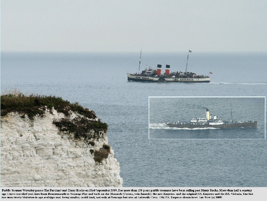 For more than 150 years paddle steamers have passed Harry Rocks, Dorset, and shown here is PS Waverley at the present day and, inset, PS Empress of the past