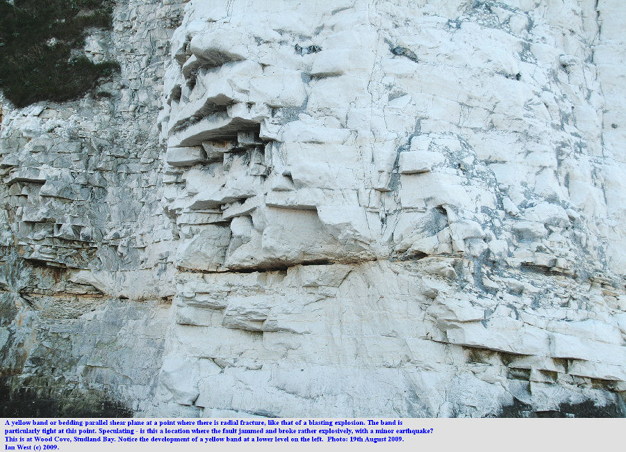 Radial fracture pattern occurring at a possible impact location on a yellow band - shear plane, Chalk cliffs of Studland Bay, west of Harry Rocks, Dorset, 19th August 2009