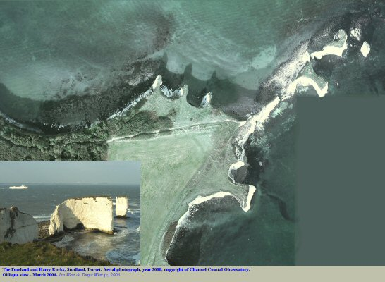 Aerial view of Harry Rocks, Dorset, courtesy of the Channel Coastal Observatory, photo 2000
