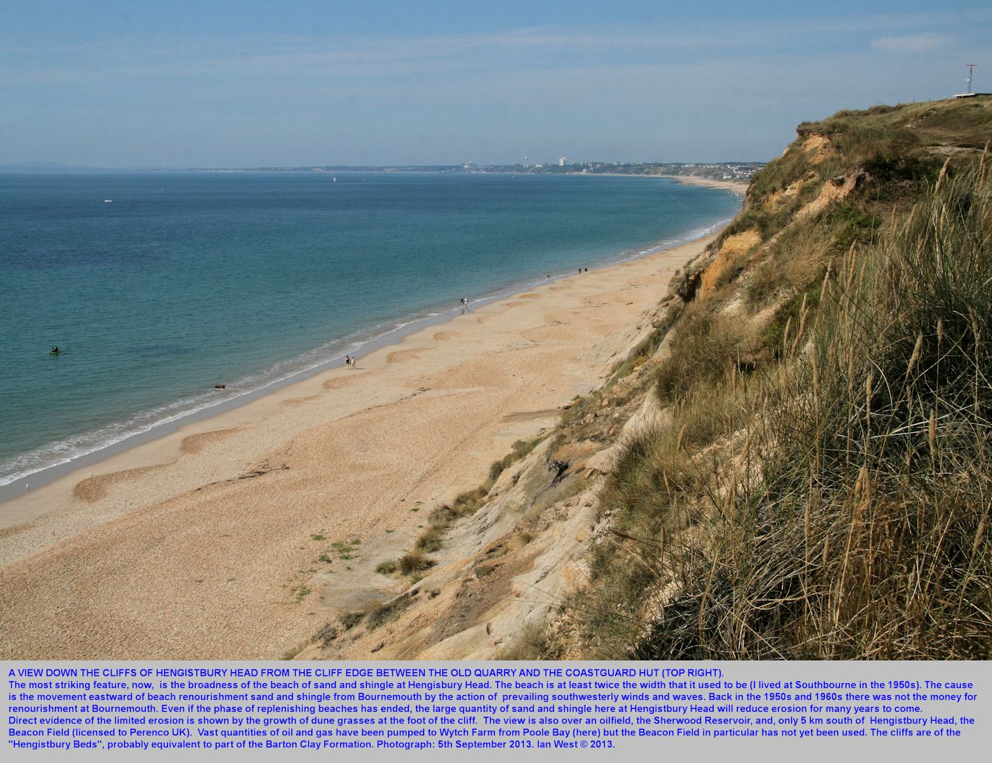 At Hengistbury Head looking down the cliff of mainly Hengistbury Beds to a very broad beach with sand and shingle derived from the renourishment at Bournemouth, Dorset, September 2013