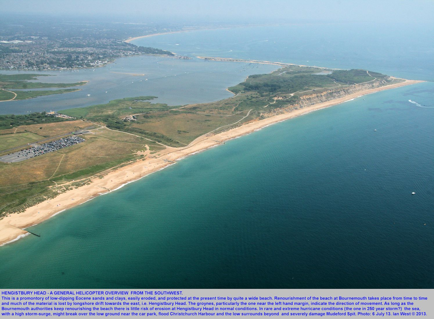 A general overview from the southwest of Hengistbury Head, Bournemouth, Dorset, seen from a helicopter, 6th July 2013