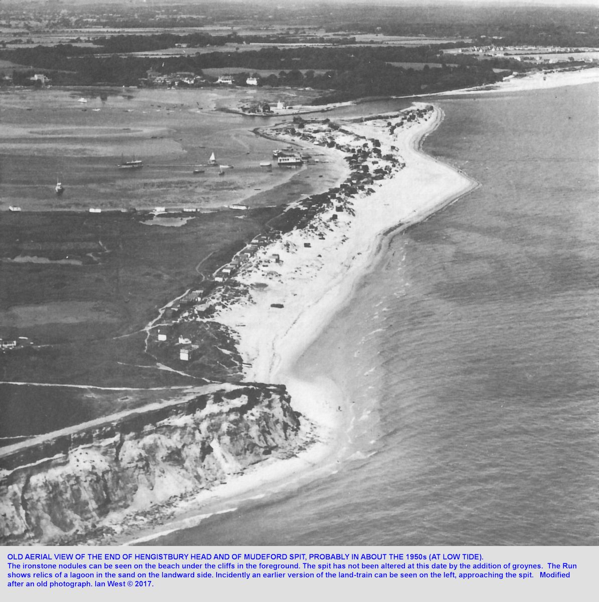 An old aerial photograph of Mudeford Spit at the end of Hengistbury Head, Bournemouth, Dorset, probably from the 1950s, and before many groynes were emplaced