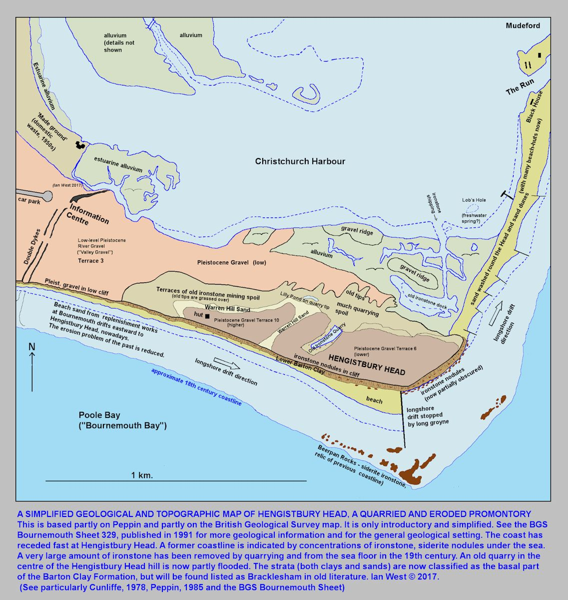 A simplified geological and general topographic map of Hengistbury Head, Bournemouth, Dorset, introductory