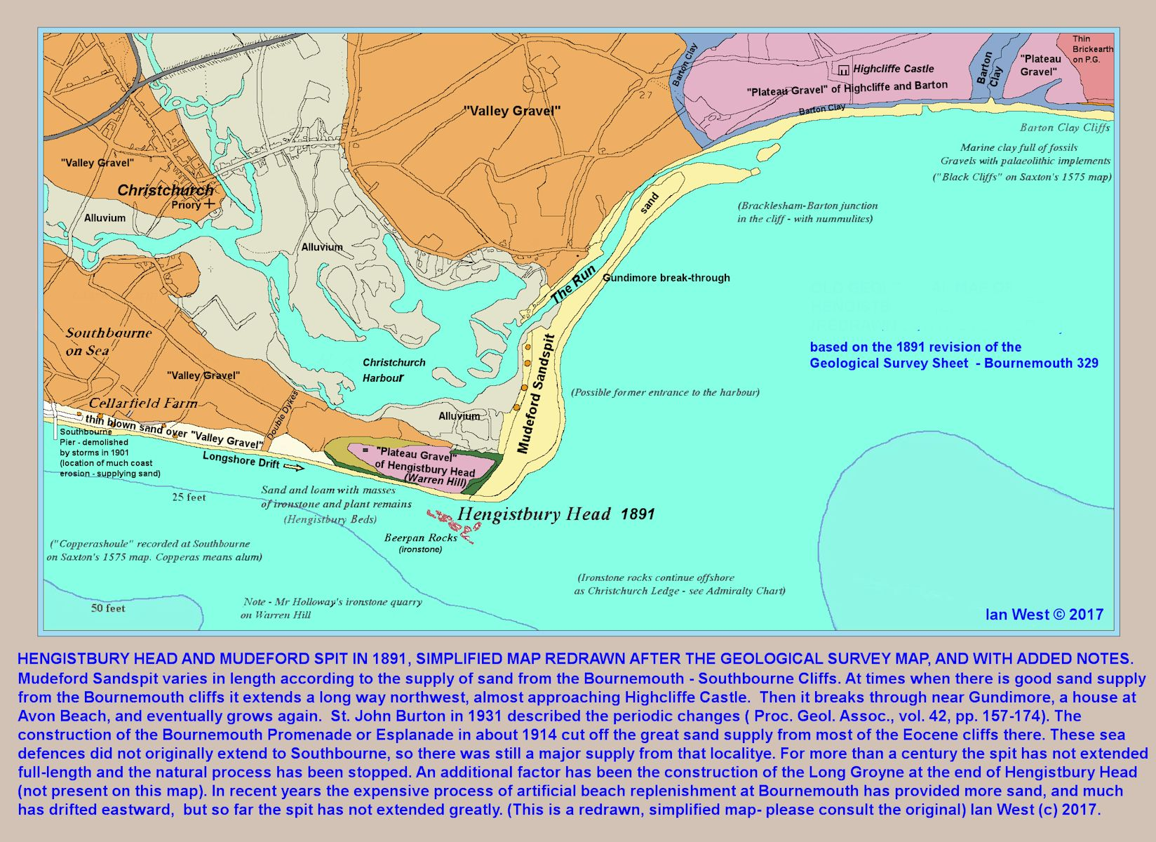 A redrawn copy of part of the 1891 geological map of Bournemouth showing Hengistbury Head at that date, and the long extension of Mudeford Spit together with the long channel or Run