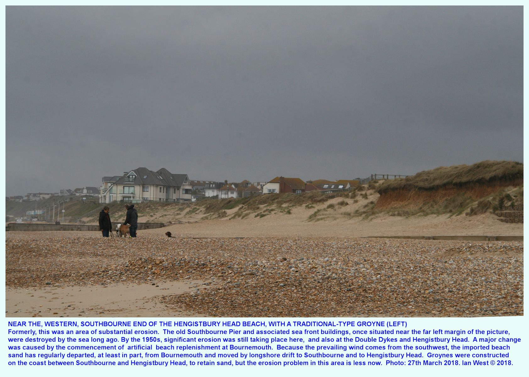 West of the three Portland Stone groynes, between Hengistbury Head and Southbourne, is a single traditional type of groyne