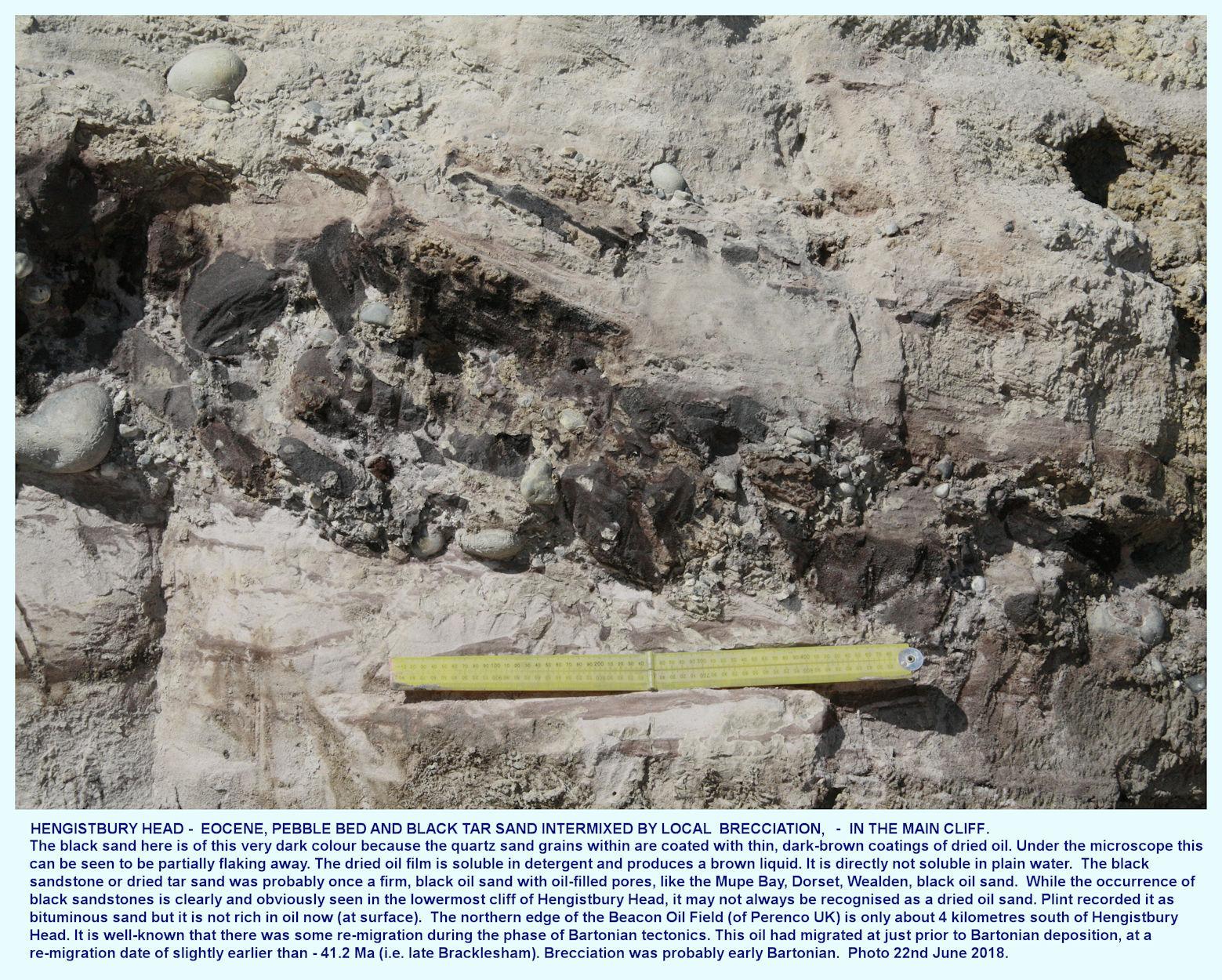 Brecciated black, bituminous sand and an overlying pebble bed, Eocene, at Hengistbury Head, Bournemouth, Dorset, November 2018, effects of an Eocene earthquake