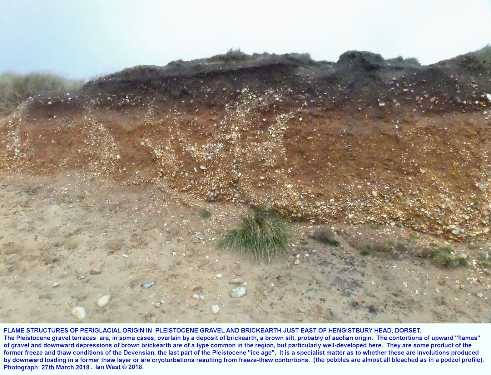 Low-level Pleistocene gravel between Southbourne and Hengistbury Head, Bournemouth, Dorset, March 2018