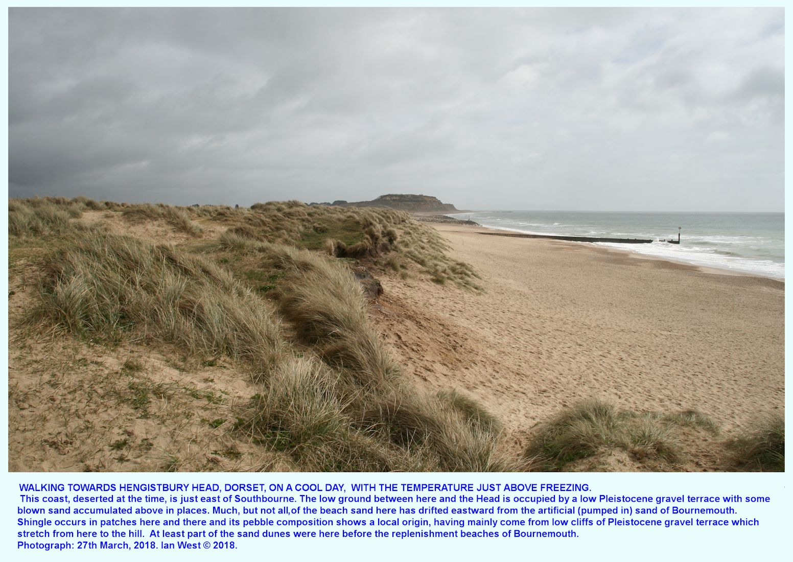 Hengistbury Head, Bournemouth, Dorset, a distant view on a cold day, when walking eastward from the sand-dunes near Southbourne, 27th April 2018