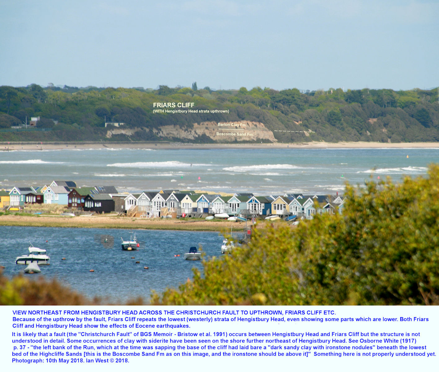 Friars Cliff is separated from Hengistbury Head, by a fault; it shows similar struata but there are problems with details of correlation and structure