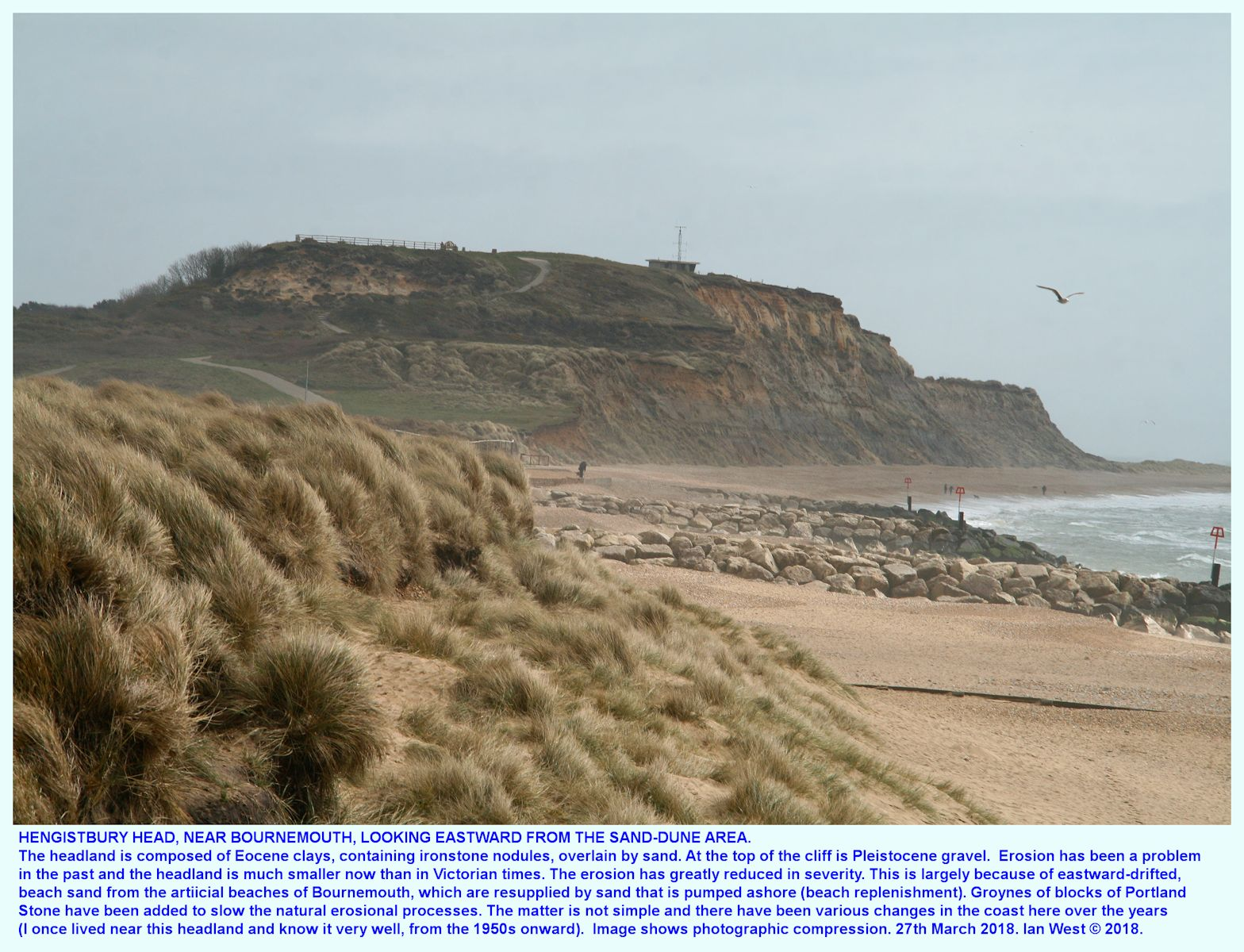 A telephoto view of Hengistbury Head, Bournemouth, Dorset, looking eastward from the sand-dunes, 27th April 2018