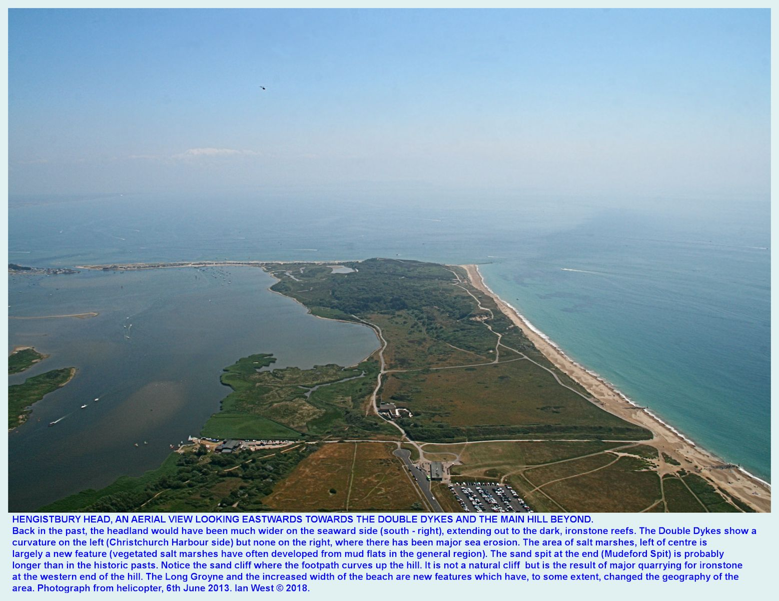 A view of Hengistbury Head, Bournemouth, Dorset, looking eastward from a helicopter, 6th June 2013