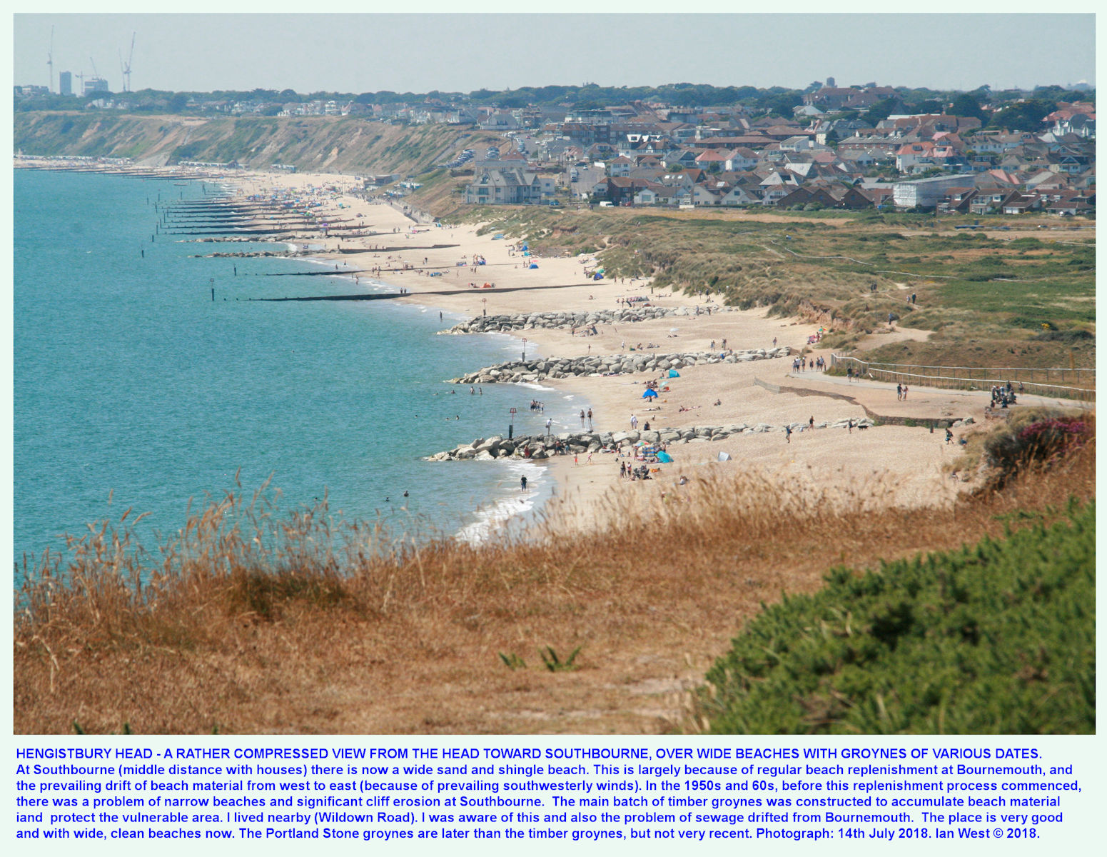 The view westward to Southbourne, with timber and stone groynes of various dates, shown as a compressed or shortened image, from the highest point of Warren Hill or Hengistbury Head, 14th July 2018