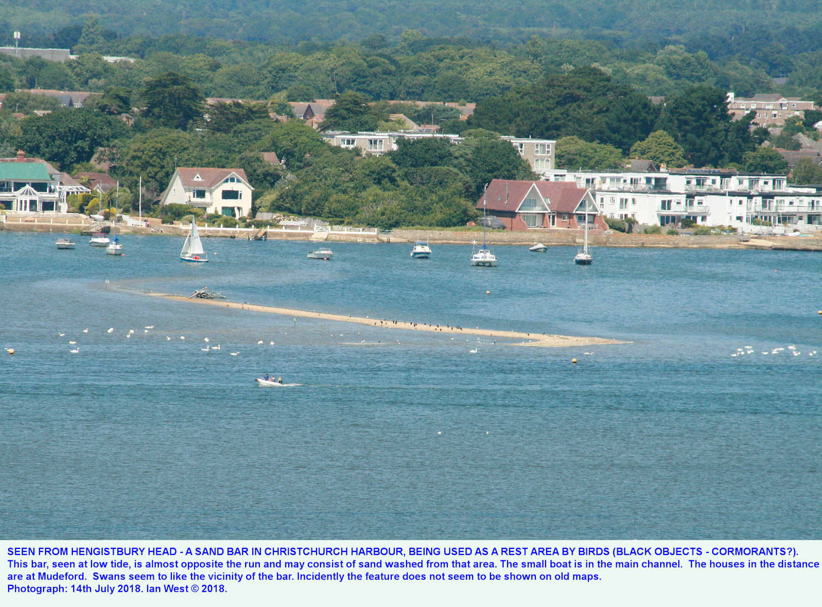 View from Hengistbury Head to Christchurch Harbour, showing a sand bar with cormorants - this is a distant scene enlarged