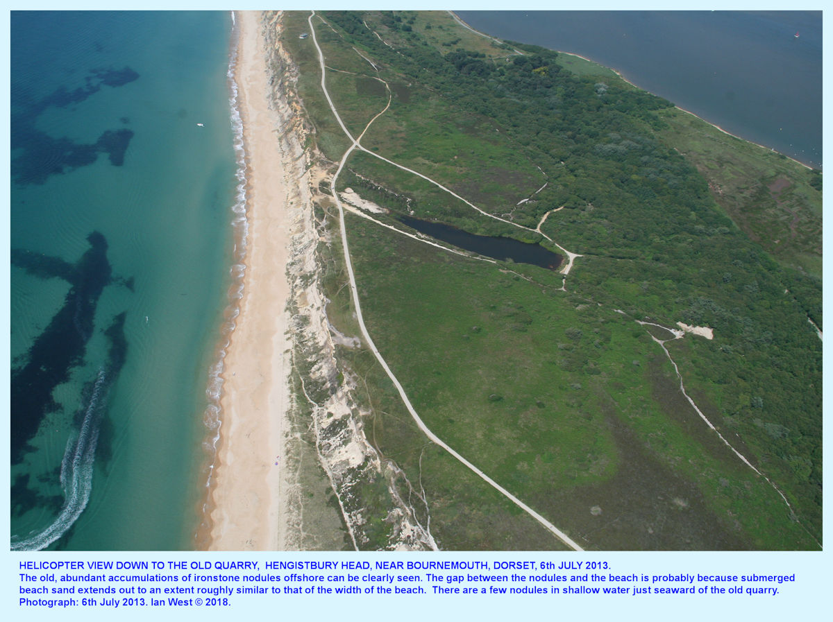 Helicopter view of part of Hengistbury Head, Dorset, including the old, and now flooded, quarrry, 6th July 2013