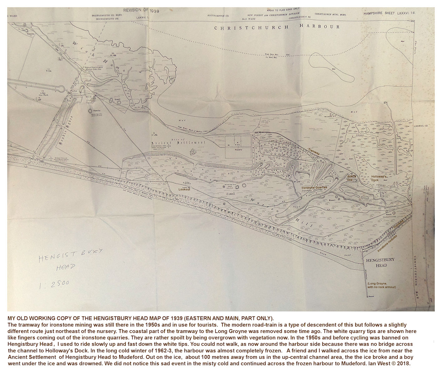 An old, large-scale topographic map of Hengistbury Head, showing details of the ironstone quarry tips