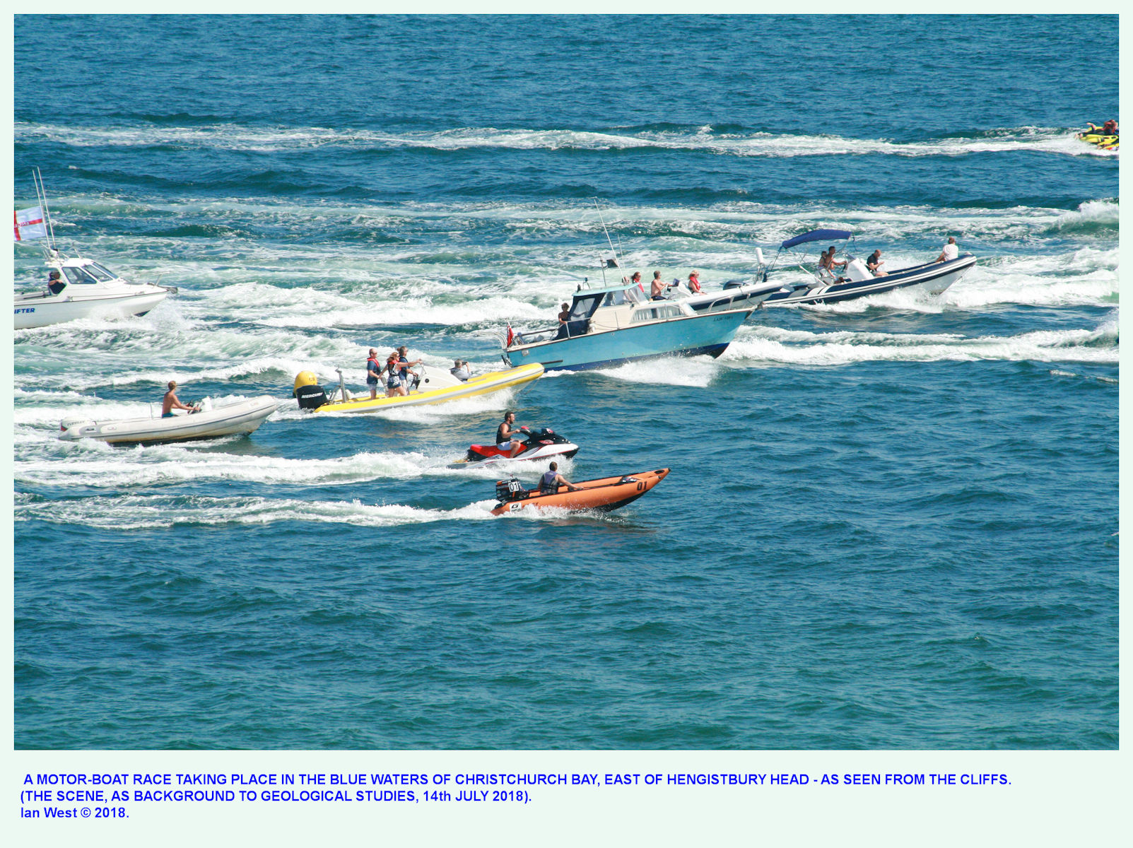 Incidental to the geology, a boat race seen by Ian West at the far eastern end of Hengistbury Head, near Mudeford Spit, on a hot day, 14th July 2018