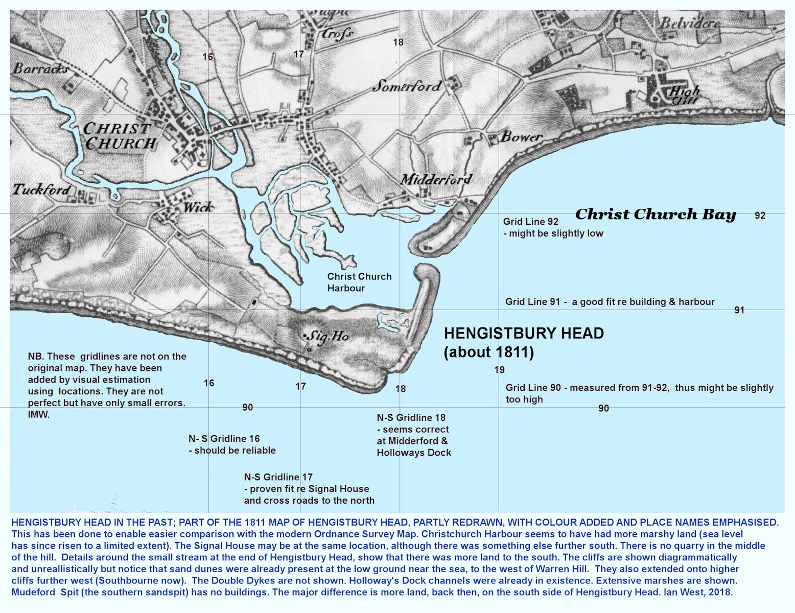 A very modified and partly redrawn map of Hengistbury Head based on a topo map of about 1811, with an attempt by IMW to add some approximate grid lines