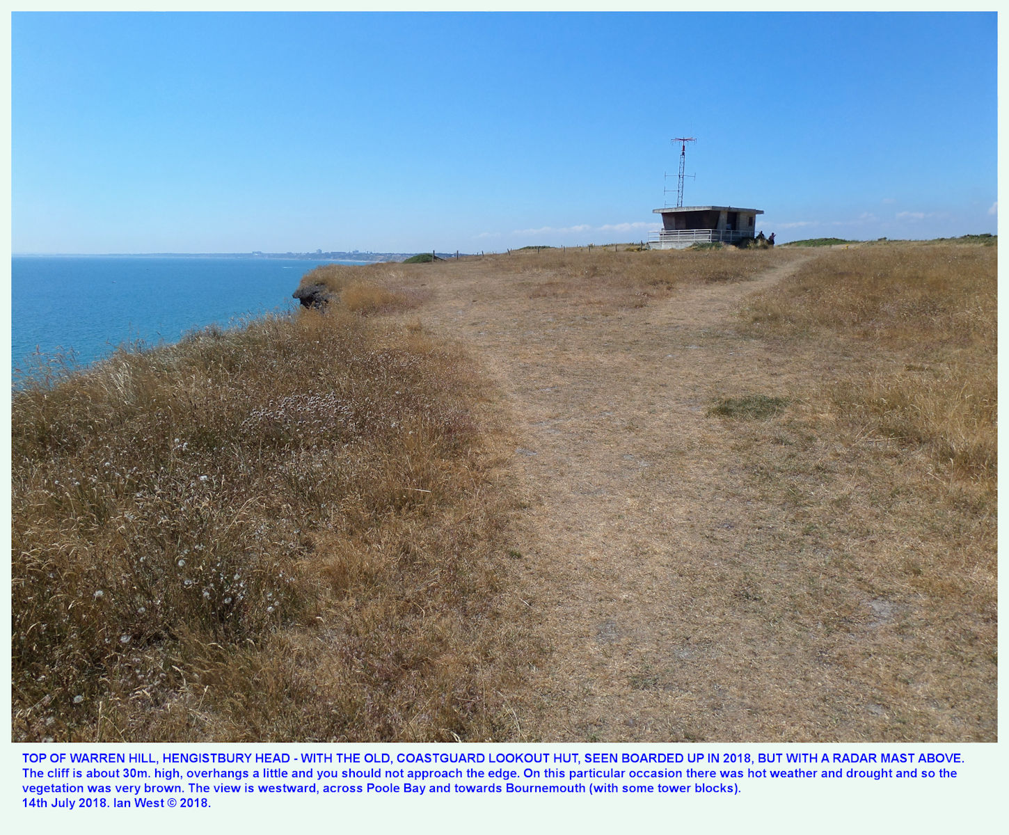 The old lookout hut at the top of Warren Hill, Hengistbury Head, with a radar mast on top, 14th July 2018