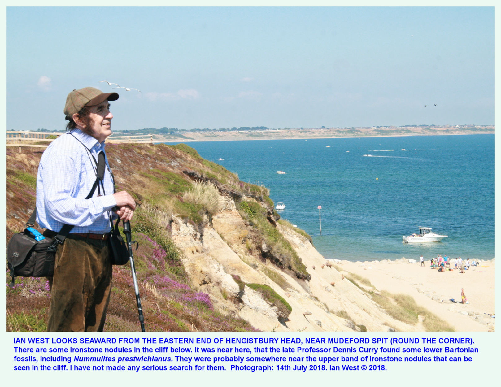 Ian West at the far eastern end of Hengistbury Head, near Mudeford Spit, on a hot sunny day, 14th July 2018